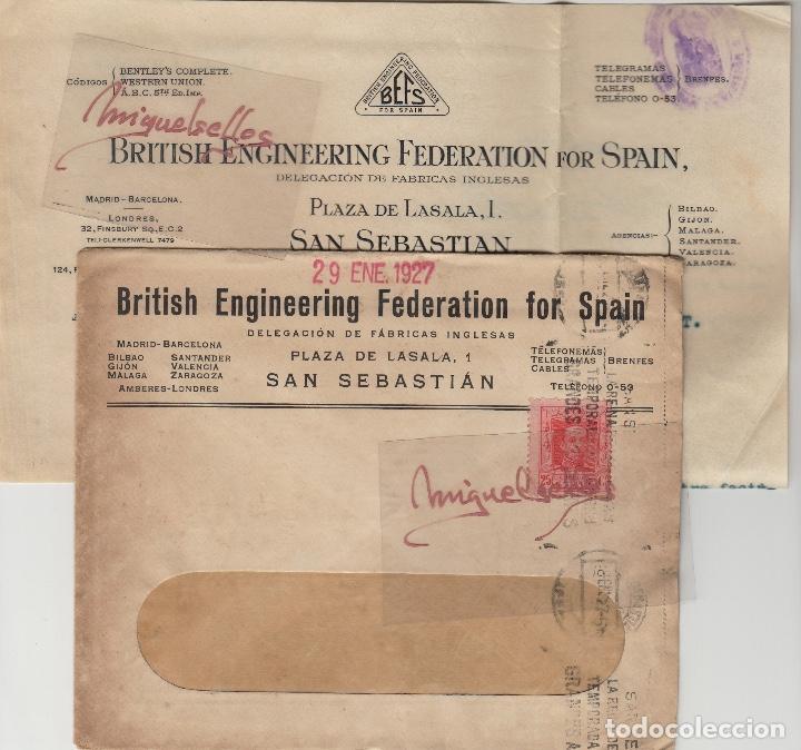 Sellos: SOBRE COMERCIAL -ACEITES BRITISH TORRA HERMANOS SAN SEBASTIAN año 1927 con escrito mat rodillo - Foto 2 - 214806191