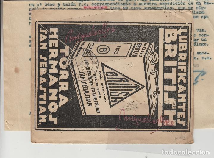 Sellos: SOBRE COMERCIAL -ACEITES BRITISH TORRA HERMANOS SAN SEBASTIAN año 1927 con escrito mat rodillo - Foto 3 - 214806191