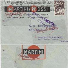 Sellos: SOBRE COMERCIAL -VERMUT MARTINI ROSSI DEST GALICIA AÑO 1927 CENSURA MILITAR VIGO. Lote 214806577