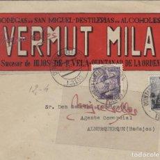 Sellos: SOBRE COMERCIAL -BODEGAS SAN MIGUEL VERMUT MILA , HIJOS P. VELA 1944 QUINTANAR DE LA ORDEN (TOLEDO). Lote 214807073