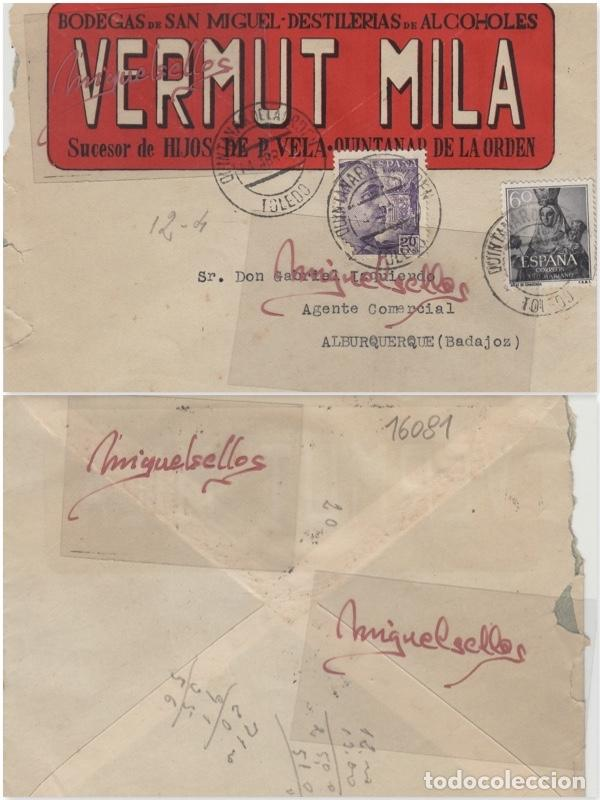 Sellos: SOBRE COMERCIAL -BODEGAS SAN MIGUEL VERMUT MILA , HIJOS P. VELA 1944 QUINTANAR DE LA ORDEN (TOLEDO) - Foto 3 - 214807073