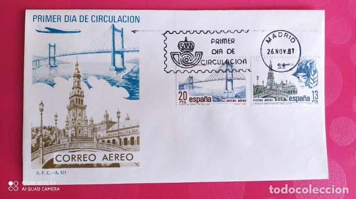 CORREO AEREO 1981 SFC A.570 ESPAÑA SOBRE PRIMER DIA CIRCULACION (Sellos - Historia Postal - Sello Español - Sobres Primer Día y Matasellos Especiales)