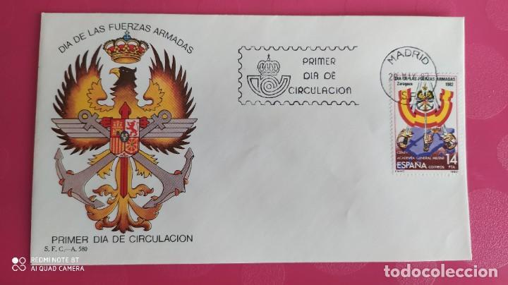 DIA DE LAS FUERZAS ARMADAS 1982 SFC A.580 ESPAÑA SOBRE PRIMER DIA CIRCULACION (Sellos - Historia Postal - Sello Español - Sobres Primer Día y Matasellos Especiales)