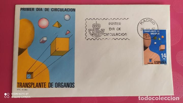 TRANSPLANTE DE ORGANOS 1982 SFC A.584 ESPAÑA SOBRE PRIMER DIA CIRCULACION (Sellos - Historia Postal - Sello Español - Sobres Primer Día y Matasellos Especiales)