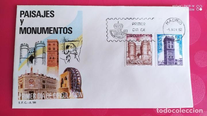 PAISAJES Y MONUMENTOS 1982 SFC A. 588 ESPAÑA SOBRE PRIMER DIA CIRCULACION (Sellos - Historia Postal - Sello Español - Sobres Primer Día y Matasellos Especiales)