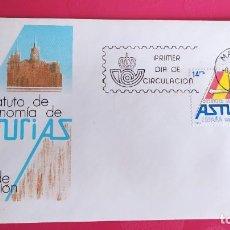 Sellos: ESTATUTO AUTONOMIA ASTURIAS 1983 SFC A. 594 ESPAÑA SOBRE PRIMER DIA CIRCULACION. Lote 215020273