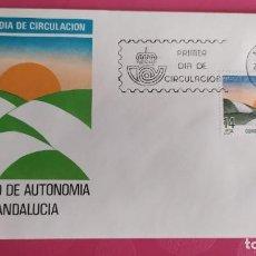 Sellos: ESTATUTO AUTONOMIA ANDALUCIA 1983 SFC A. 595 ESPAÑA SOBRE PRIMER DIA CIRCULACION. Lote 215020815