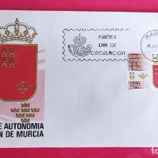 Sellos: ESTATUTO AUTONOMIA MURCIA 1983 SFC A. 605 ESPAÑA SOBRE PRIMER DIA CIRCULACION. Lote 215025820