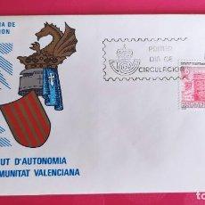 Sellos: ESTATUTO AUONOMIA COMUNIDAD VALENCIANA 1983 SFC A. 608 ESPAÑA SOBRE PRIMER DIA CIRCULACION. Lote 215026320