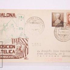 Selos: MATASELLOS CONMEMORATIVOS:TEMATICA, HERALDICA,EXPOSICION FILATELICA BADALONA 12 AGOS 1951 CIRCULADO. Lote 215889835