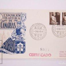 Selos: MATASELLOS CONMEMORATIVOS:TEMATICA: SANTA CRUZ DE TENERIFE EXPOSICION FILATELICA 2 MAY 1954 CERTIFIC. Lote 215902007