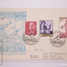 Selos: MATASELLOS CONMEMORATIVOS:TEMATICA:DEPORTES,NATACIÓN, ARC3ELONA 12-AGOSTO 1960, CIRCULADO. Lote 215903506