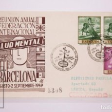 Selos: MATASELLOS CONMEMORATIVOS:TEMATICA: MEDICINA XII REUNION MUNDIAL,SALUD MENTAL BARCELONA 30 AGOS-59. Lote 215909482