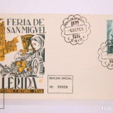 Selos: MATASELLOS CONMEMORATIVOS:TEMATICA: LERIDA,FERIAS,28-SEP-56,EDICION OFICIAL Nº 21. Lote 215993380