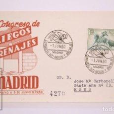 Selos: MATASELLOS CONMEMORATIVOS:TEMATICA:RIEGOS,Y DRENAJES,MADRID 1-JUN-1960, 4º CONGRESO,CIRCULADO. Lote 215994761
