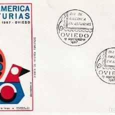 Sellos: DIA DE AMERICA EN ASTURIAS, OVIEDO 1967, MATASELLOS EN SOBRE ILUSTRADO EDICION OFICIAL. RARO ASI.. Lote 216783678