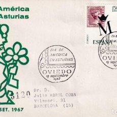 Sellos: DIA DE AMERICA EN ASTURIAS, OVIEDO 1967. MATASELLOS EN SOBRE CIRCULADO DE ALFIL. BONITO Y RARO ASI.. Lote 216783715