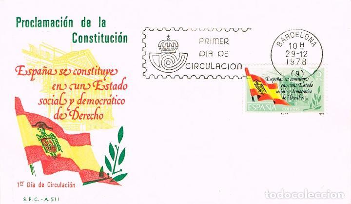 EDIFIL 2507, PROCLAMACION DE LA CONSTITUCION ESPAÑOLA, PRIMER DIA DE 29-12-1978 (Sellos - Historia Postal - Sello Español - Sobres Primer Día y Matasellos Especiales)