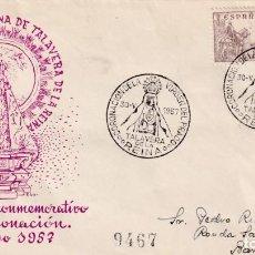 Sellos: CORONACION VIRGEN DEL PRADO, TALAVERA DE LA REINA (TOLEDO) 1957. MATASELLOS EN SOBRE ALFIL. RARO ASI. Lote 94906255