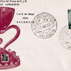 Sellos: PLAN SUR DE VALENCIA 1968 EL SANTO GRIAL (EDIFIL 6) SOBRE PRIMER DIA EDICION OFICIAL MOD 2 RARO ASI. Lote 218190683