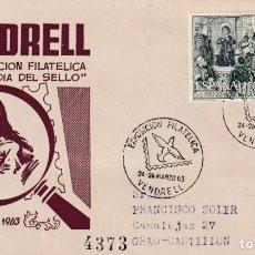 Sellos: DIA DEL SELLO EXPOSICION, VENDRELL (TARRAGONA) 1963. MATASELLOS PALOMA EN SOBRE CIRCULADO DE EG RARO. Lote 218192068