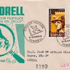 Sellos: DIA DEL SELLO EXPOSICION, VENDRELL (TARRAGONA) 1963. MATASELLOS PALOMA EN SOBRE CIRCULADO DE DP RARO. Lote 218192530