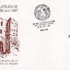 Sellos: REYES CATOLICOS 500 AÑOS RECONQUISTA DE MALAGA 1987 XXXVI EXPOSICION. MATASELLOS EN SOBRE ILUSTRADO.. Lote 218196458