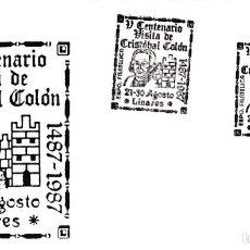 Sellos: CRISTOBAL COLON V CENTENARIO VISITA, LINARES (JAEN) 1987. RARO MATASELLOS EN SOBRE ILUSTRADO NEGRO.. Lote 218200035