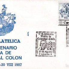 Sellos: CRISTOBAL COLON V CENTENARIO VISITA, LINARES (JAEN) 1987. RARO MATASELLOS EN SOBRE ALFIL CARABELA.. Lote 218200232