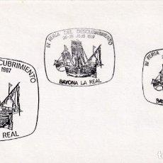 Sellos: CARABELA COLON IV FERIA DESCUBRIMIENTO, BAYONA LA REAL PONTEVEDRA 1987. MATASELLOS BARCOS RARO SOBRE. Lote 218334615