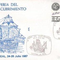 Sellos: CARABELA COLON IV FERIA DESCUBRIMIENTO, BAYONA LA REAL PONTEVEDRA 1987 MATASELLOS BARCOS SOBRE ALFIL. Lote 218334698