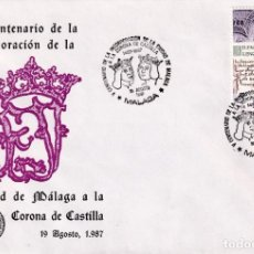 Sellos: REYES CATOLICOS INCORPORACION A CORONA CASTILLA V CENTENARIO, MALAGA 1987 MATASELLOS SOBRE ILUSTRADO. Lote 218335735