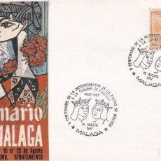 Sellos: REYES CATOLICOS INCORPORACION A CORONA CASTILLA V CENTENARIO, MALAGA 1987 MATASELLOS SOBRE ILUSTRADO. Lote 218335853