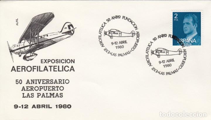 MATASELLOS AEROFILATELIA -50 ANIV. FUNDACION AEROPUERTO LAS PALMAS 1980 (Sellos - Historia Postal - Sello Español - Sobres Primer Día y Matasellos Especiales)