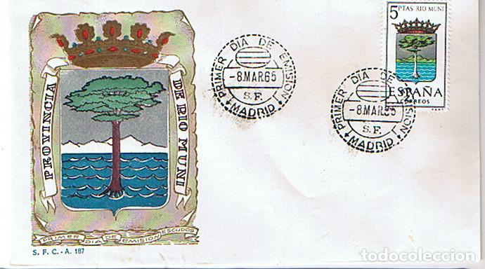 EDIFIL 1633 ESCUDO DE LA PROVINCIA DE RIO MUNI 1965 SOBRE PRIMER DIA (Sellos - Historia Postal - Sello Español - Sobres Primer Día y Matasellos Especiales)
