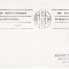 Sellos: VINO RIOJA XXII FIESTA VENDIMIA 17-25 SEPTIEMBRE, LOGROÑO 1978. RARO MATASELLOS RODILLO EN SOBRE MPM. Lote 218616783