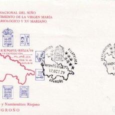 Sellos: VIRGEN MARIA BIMILENARIO EXPOFIL RIOJA 79, LOGROÑO 12 OCTUBRE 1979. MATASELLOS RARO SOBRE ILUSTRADO.. Lote 218619440