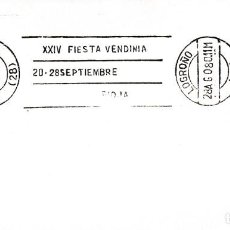Sellos: VINO RIOJA XXIV FIESTA VENDIMIA 20-28 SEPTIEMBRE, LOGROÑO 1980. RARO MATASELLOS DE RODILLO EN SOBRE. Lote 218620070