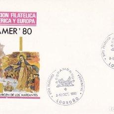 Sellos: ESPAMER 80 EXPOSICION FILATELICA PROVINCIAL, LOGROÑO 1980. MATASELLOS SOBRE VIRGEN QUITEÑA MAREANTES. Lote 218620657