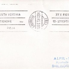 Sellos: VINO RIOJA XXV FIESTA VENDIMIA 19-27 SEPTIEMBRE, LOGROÑO 1981. RARO MATASELLOS DE RODILLO EN SOBRE.. Lote 218624527