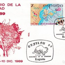 Sellos: CUEVA ALTAMIRA PATRIMONIO HUMANIDAD PREHISTORIA PINTURAS RUPESTRES EXFILNU, LOGROÑO 1989. MATASELLOS. Lote 218624708