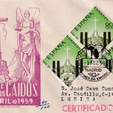 Sellos: INAUGURACION MONASTERIO VALLE DE LOS CAIDOS 1959 (EDIFIL 1248 TRES SELLOS) SPD CIRCULADO DP MUY RARO. Lote 218626431