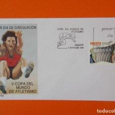 Sellos: V COPA DEL MUNDO DE ATLETISMO - 1989 - EDIFIL 3023 - SOBRE PRIMER DIA ... L1863. Lote 218681480