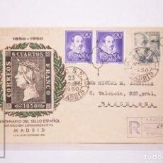 Selos: MATASELLOS CONMEMORATIVOS: CENTENARIO DEL SELLO ESPAÑOL 23 OCT.1950 CIRCULADOREGULAR. Lote 218683218