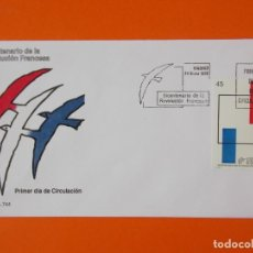 Sellos: BICENTENARIO DE LA REVOLUCION FRANCESA - 1989 - EDIFIL 2988 - SOBRE PRIMER DIA ... L1868. Lote 218687990