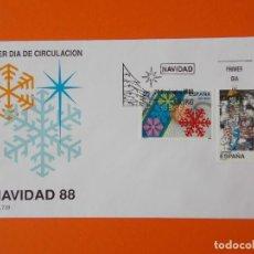 Sellos: NAVIDAD 88 - 1988 - EDIFIL 2976/77 - SERIE COMPLETA - SOBRE PRIMER DIA ... L1875. Lote 218758682