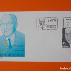 Sellos: I CENTENARIO NACIMIENTO DE JEAN MONNET - 1988 - EDIFIL 2931 - SOBRE PRIMER DIA... L1906. Lote 218766973