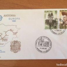 Sellos: ESPAÑA 1980 SOBRE PRIMER DÍA. ANDORRA EUROPA 1980. Lote 218773606