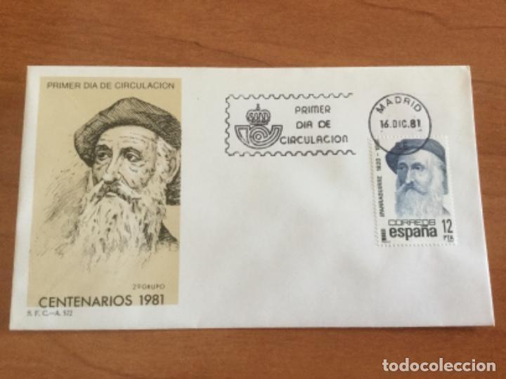 ESPAÑA 1981 SOBRE PRIMER DÍA. CENTENARIOS 1981 2º GRUPO (Sellos - Historia Postal - Sello Español - Sobres Primer Día y Matasellos Especiales)