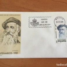 Sellos: ESPAÑA 1981 SOBRE PRIMER DÍA. CENTENARIOS 1981 2º GRUPO. Lote 218778732